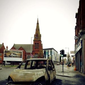burned out car on newtownards road jan 6 2013